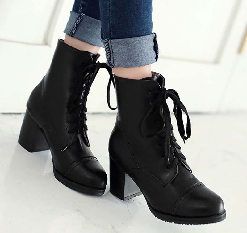 Ankle boots for women bigsize Lace-Up Fashion Round Toe High boots new Winter boots shoes Black Beige Brown Martin boots front lace up casual ankle boots autumn vintage brown new booties flat genuine leather suede shoes round toe fall female fashion