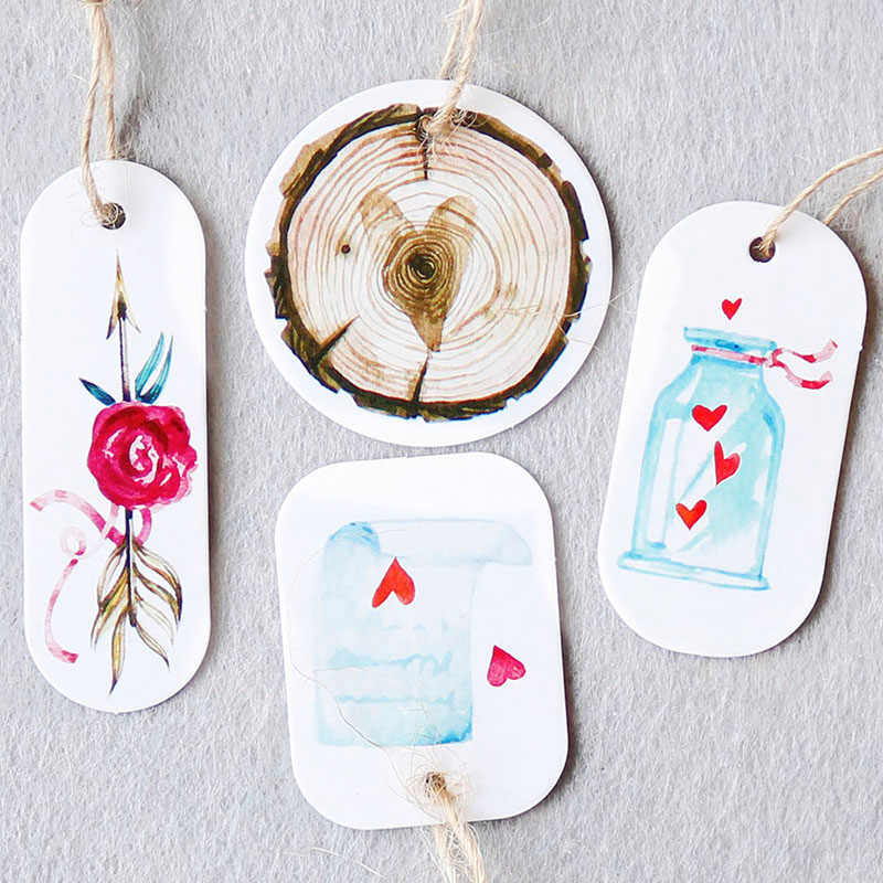 50pcs Flower Paper Tags Party Decoration White Gift Paper Hang Tags Gift Box Round Paper Cards DIY Label Handmade Garment Tags
