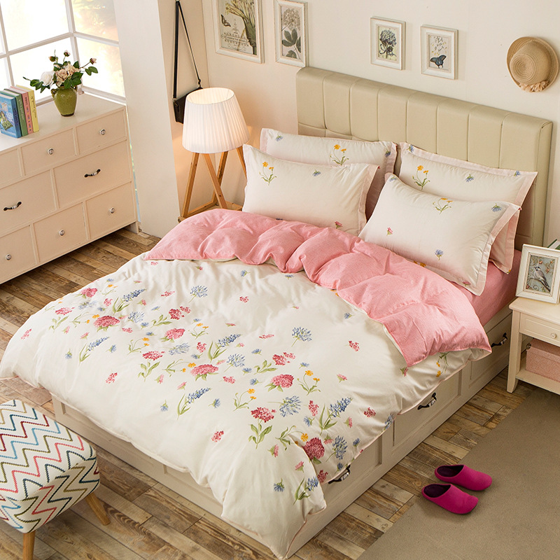 AB Side 3-4pcs Bedding Sets For Kids Adults Single Double Bed Twin Full Queen Size Pastoral Floral Duvet Cover Set XF356-8