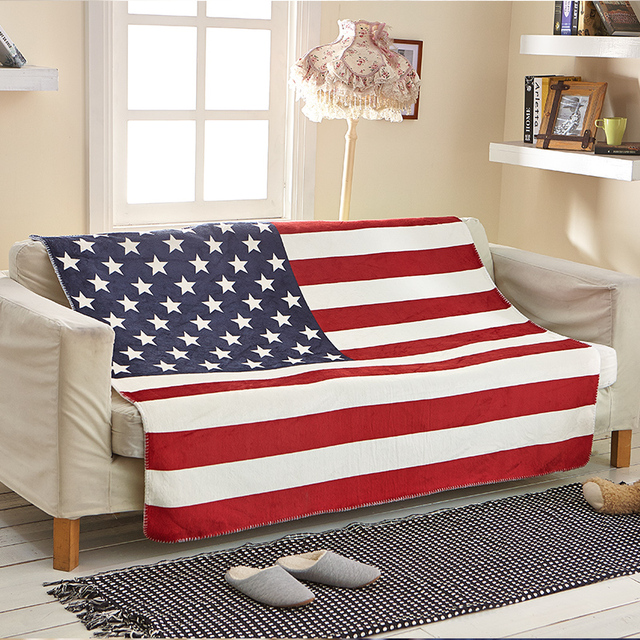 Idouillet Soft Warm Sherpa Fleece Couch Throw Blanket For Bed Sofa Usa American Flag