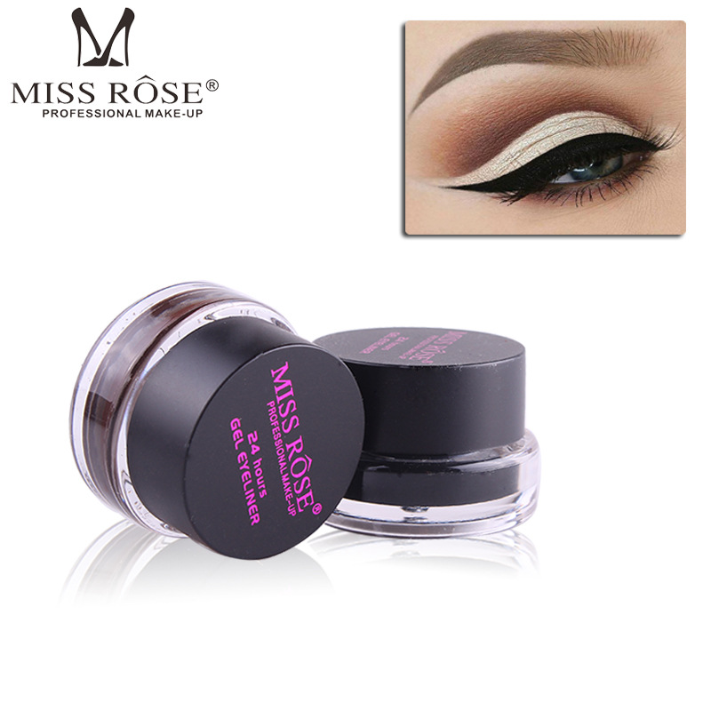 Miss Rose 2 In1 Eye Makeup Black and Brown Eyeliner Gel + Eyebrow Cream with Brush 24 Hours Long-Lasting Smudge-proof Eye Liner