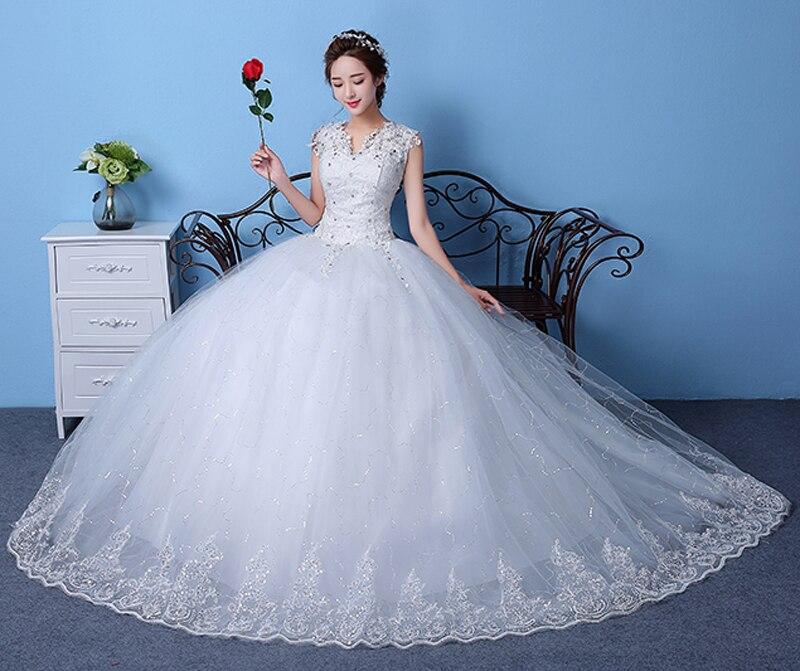 Cheap Customizable White Wedding Dress 2017 Korean Style Lace V Neck Vintage Bridal Gowns Discount Dresses vestido de noiva M83