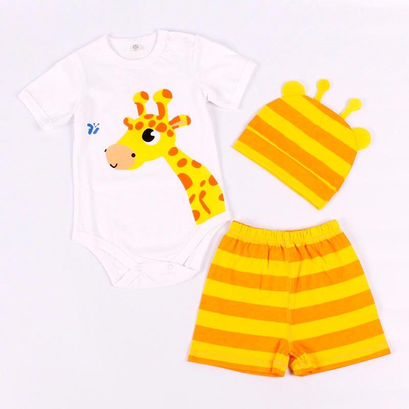 Sommer Baby Rompers Sæt Bomuld 8 Style Børnetøj Dreng og pige Kortærmet og bukser Sæt dyr 3 PCS (0-24M)