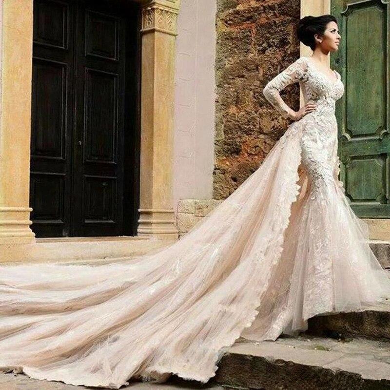 Detachable Train Mermaid Wedding Dresses 2016 Custom Made Sexy V Neck Vestido De Noiva Sheer Tulle Back Long Sleeve Bridal Gowns In From