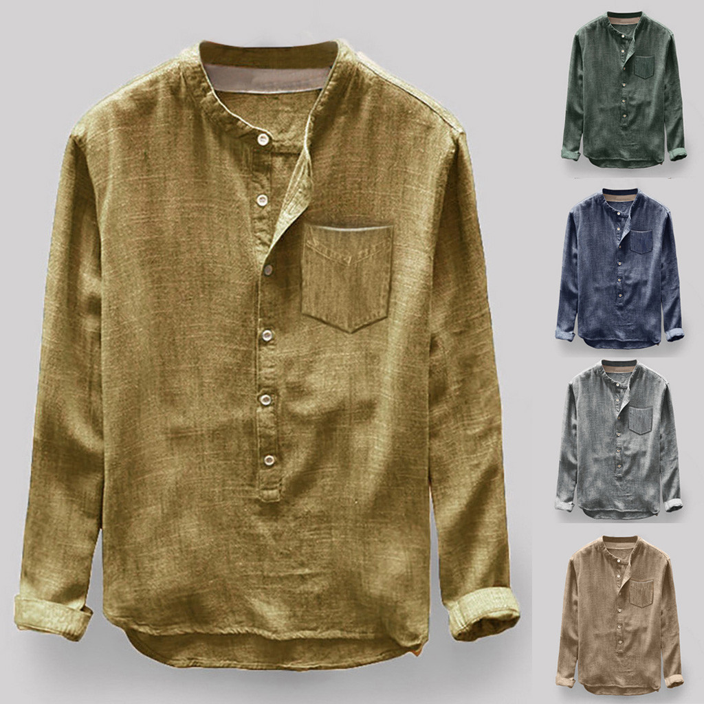 2019 Camisa Male Shirts Mens Autumn Winter Button Casual Linen And Cotton Long Sleeve Top Blouse Camisas Masculina Plus Size