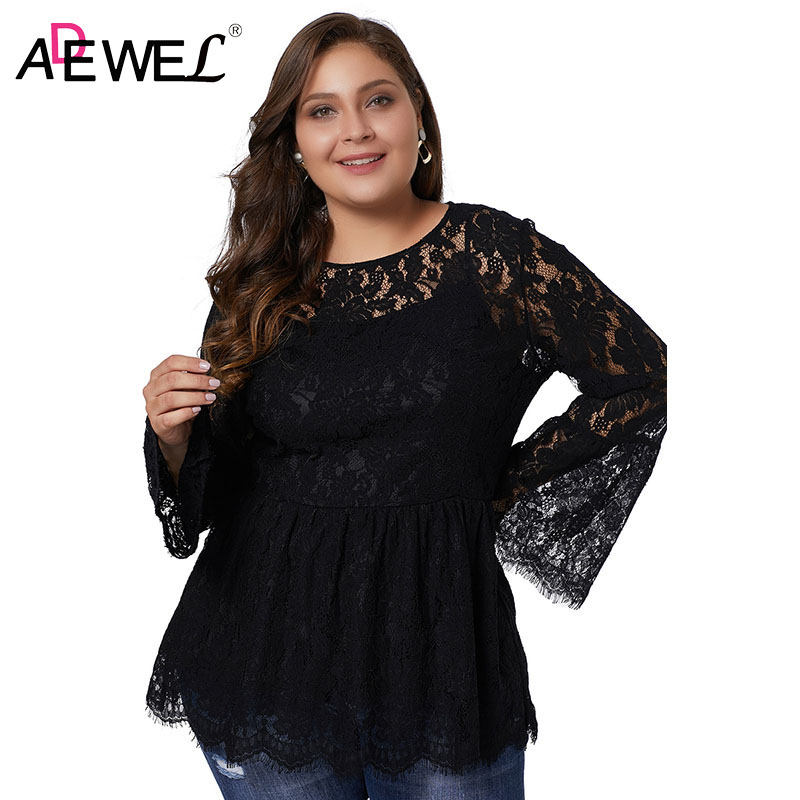 ADEWEL Woman's Long Sleeve Tops Plus Size Spring Black Floral Lace Flare Sleeve Tee for Female 2019 Autumn Hollow Out Top XL 5XL