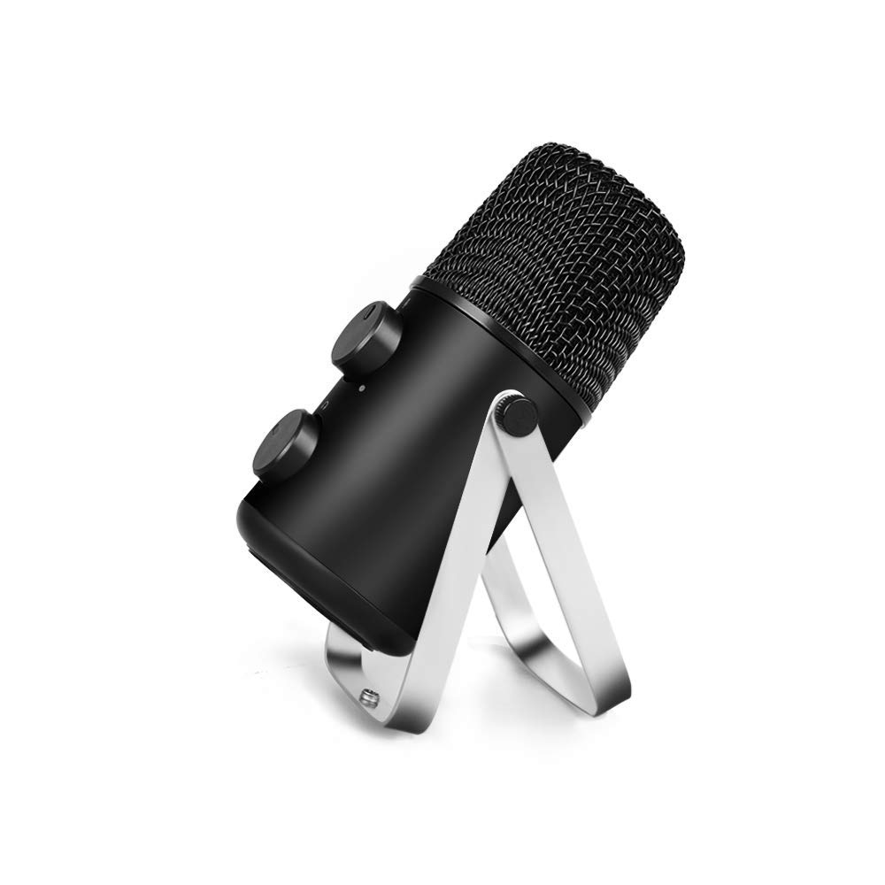MAONO USB Microphone with Headphone Monitoring Echo Volume Control Zinc Alloy Podcast Vocal Condenser Mic For Game Youtube Game keenion kdm 906 stereo headphone w volume control microphone white grey