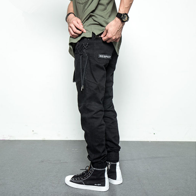 2018 Men Pants High Street Fashion Hip Hop Elastic Waist Casual Cargo Pants Male Loose H ...