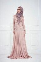 2016 Muslim Evening Dresses A Line Long Sleeves Champagne Pleated Hijab Islamic Dubai Abaya Kaftan Long