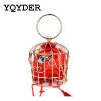 2017 Fashion Hollow Metal Frame Women Evening Totes Bags Brand Designed Embroidery Bucket Bird Cage Mini Bag Tassel Handbag Sac