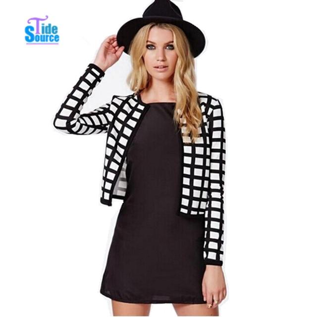 TideSource Новая Мода 2017 Пальто Женщин Белый И Черный Плед Шаблоны Печати Куртки Женщин Короткая Куртка Осень Пальто Женщин Куртки