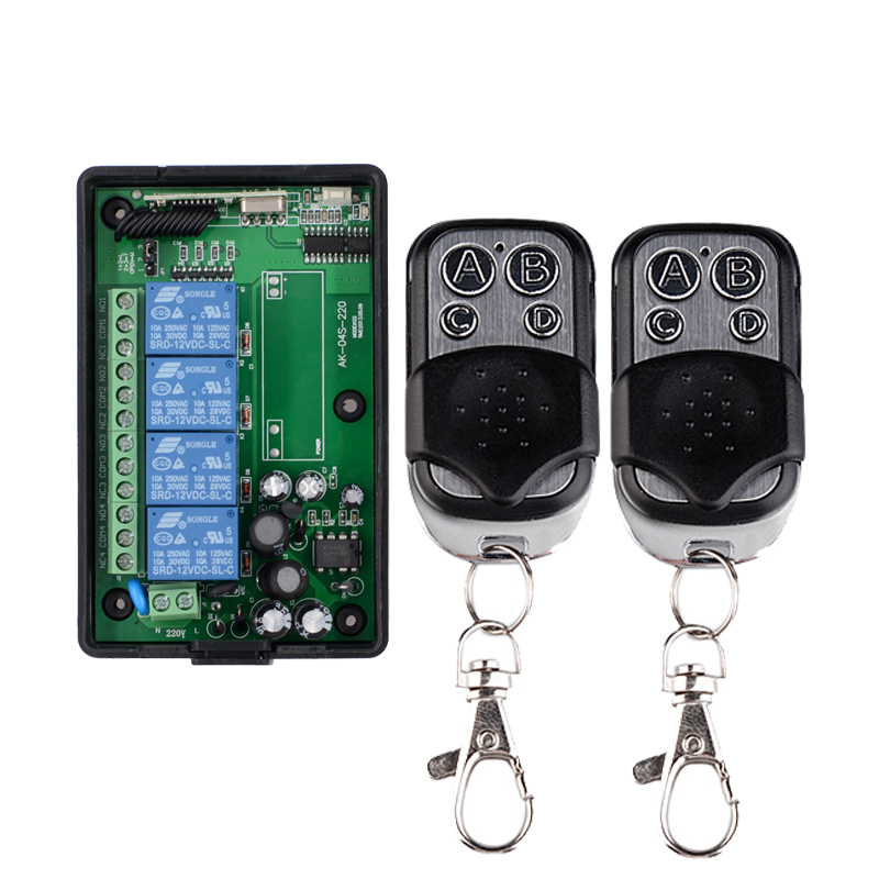 AC 85V 110V 220V 250V 4CH RF Wireless Remote Control System Radio Wireless Lighting Switch 315Mhz/433Mhz Receiver Transmitter rf 2 channel 315mhz 433mhz 85v 250v wireless remote control relay switch 2 radio transmitter and 1 receiver controller system