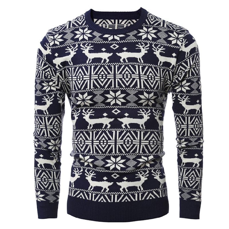 New Men's Brands Fashion Autumn Casual Sweaters Owl Christmas Elk Slim Knit High Quality Men's Sweater Pullover