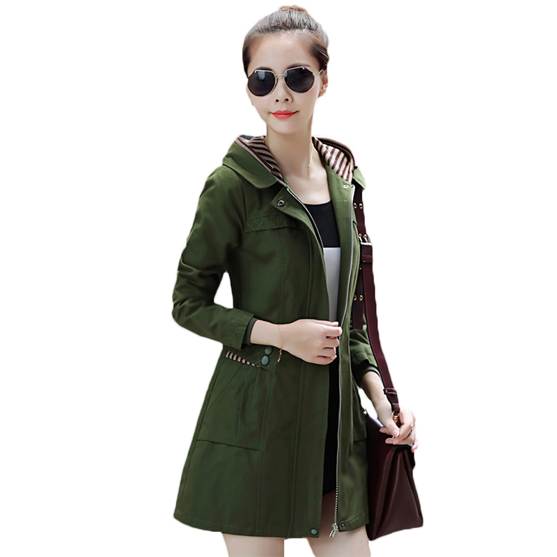 2018 New Style Windbreaker Coats Spring Autumn Women's Hooded Coat Korean Slim Long   Trench   Coats Plus Size Overcoats A307