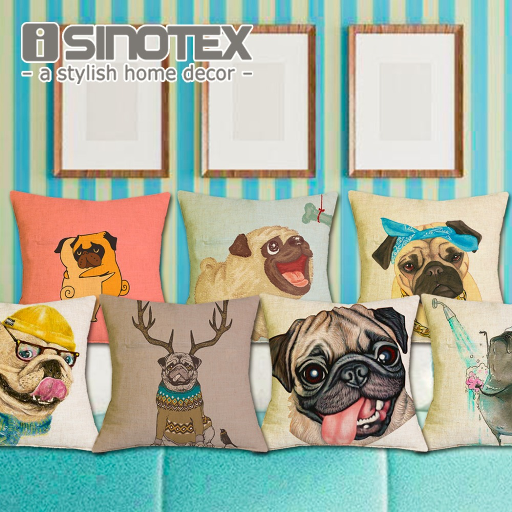 Frenchie Bulldog Polyester Cushion Cover French Animal Pillow Case Pug Pattern Design Decorative Throw Pillows Sofa 1 PCS/Lot