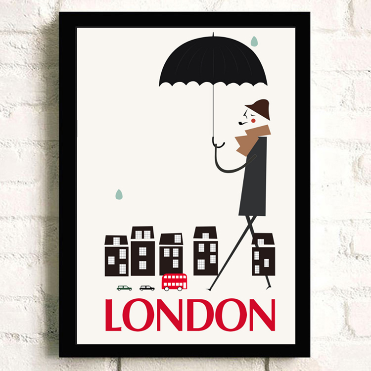 Cartoon London Building Canvas Art Posters and Prints Home Decor Wall Canvas Painting Children Bedroom Decoration