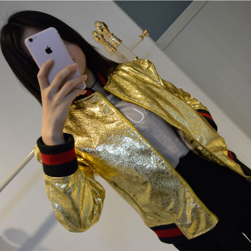 2016 New Arrival Gold Sliver 2 color PU leather short   basic     jacket