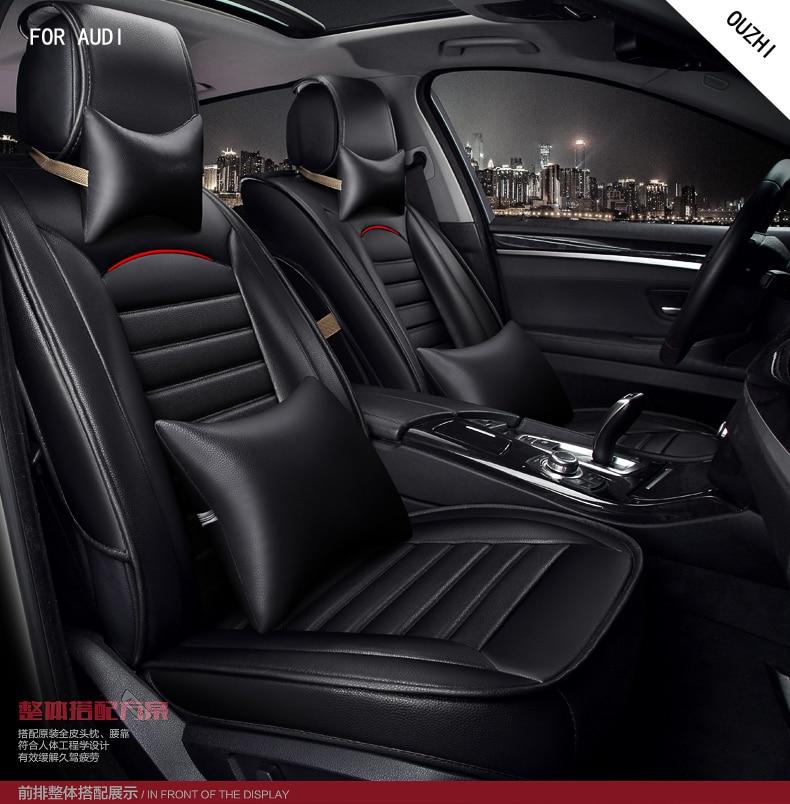 OUZHI brand black pu leather car seat cover front and back  set for Audi A1 A3 A4 A6 A5 A8 Q1 Q3 Q5 qQ7 car cushion covers for audi a1 a3 a4 a6 a5 a8 q1 q3 q5 q7 new brand luxury soft pu leather car seat cover front