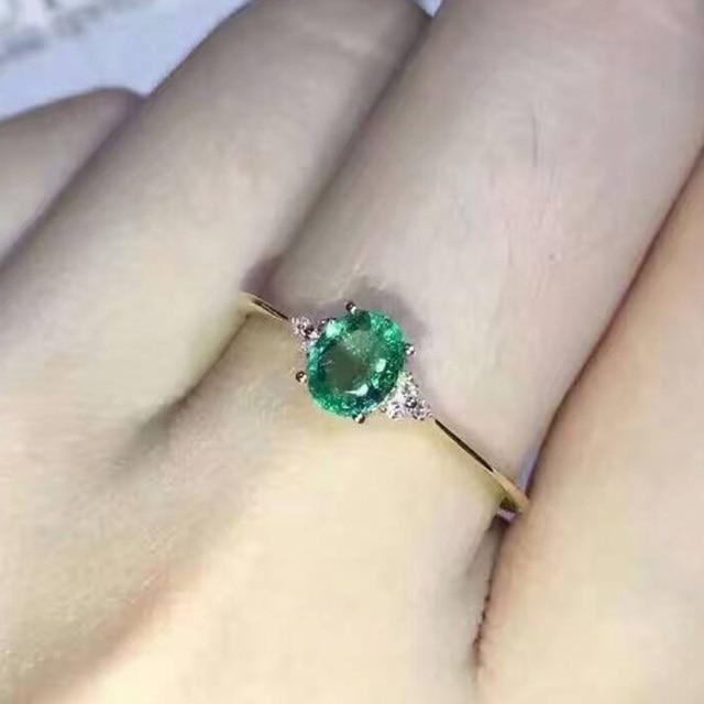 Простой дизайн изумрудный обручальное кольцо для женщин 0.4 карат 3 мм * 5 мм природный изумруд серебряное кольцо solid 925 silvr изумрудный gemstone свадебные