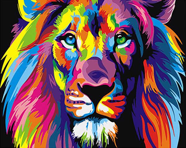 Безрамное красочные львы животных DIY живопись по номерам уникальный подарок