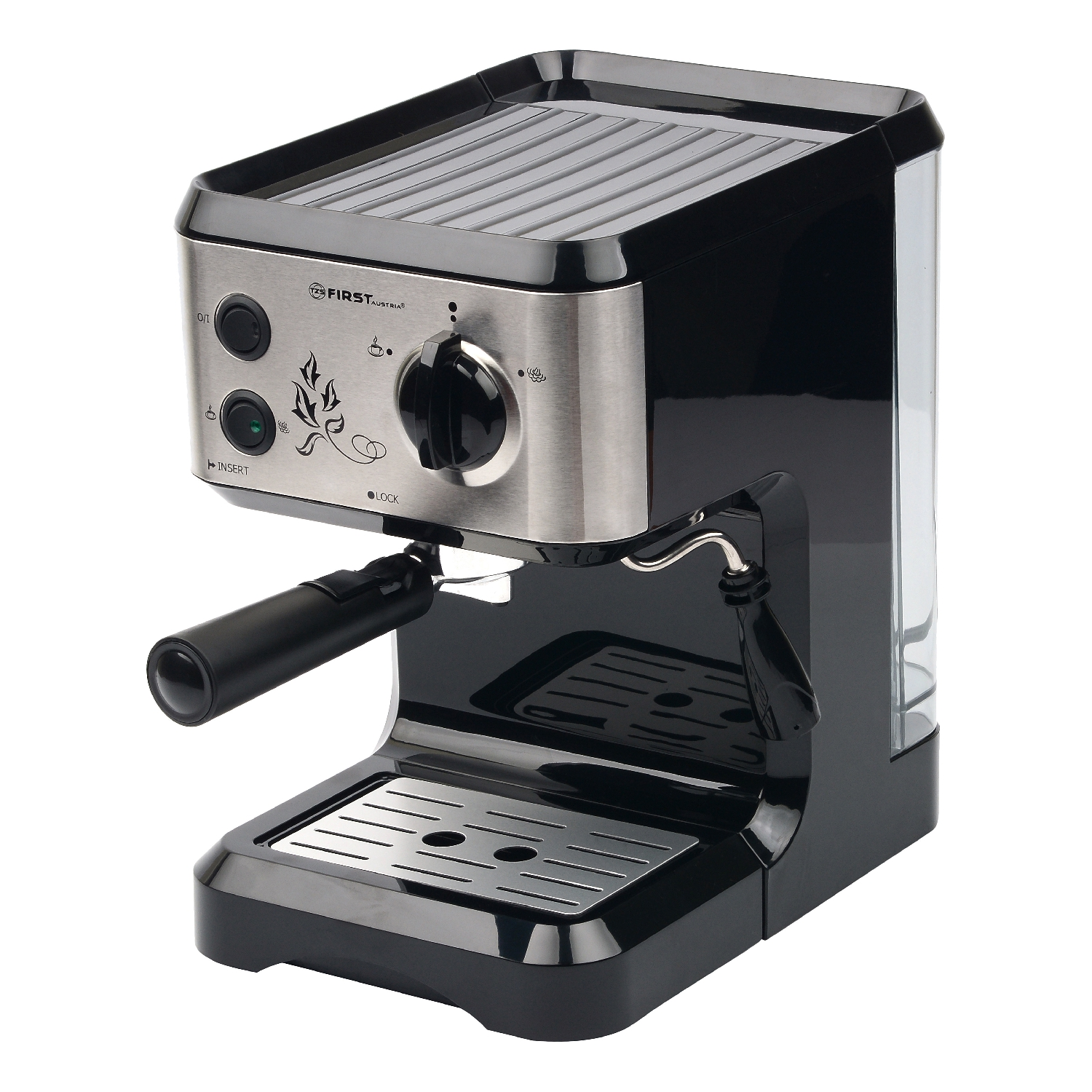 Coffee Maker FIRST FA-5476-1 Black (Рожковая semi automatic coffee machine, Espresso and Капуччино cooking, removable filter and kapuchinator) цена и фото