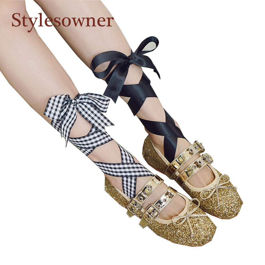 Stylesowner Fashion Spring Summer Flat Ballet Shoe Gold Silver Black Bling Sequins Bowtie Bandage Buckle Belt Single Sapato|flat ballet shoes|ballet flat shoes|flat gold shoes - title=