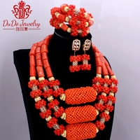2017 Trendy Orange African Jewelry Sets Nature Coral African Beads Nigerian Gold Balls Dubai Wedding Jewelry Sets Bridal Jewelry