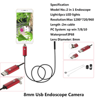 JCWHCAM 2m Waterproof PC Android Endoscope With 8mm 6LED Lens OTG Micro USB Endoscopy Borescope For