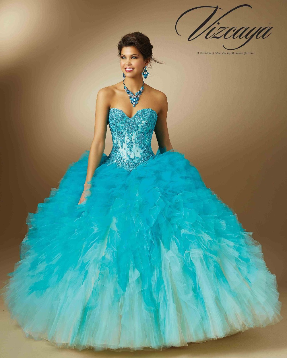 Romantic Quinceanera Dresses Ball Gowns Ruffled Tulle Omber Beading ...