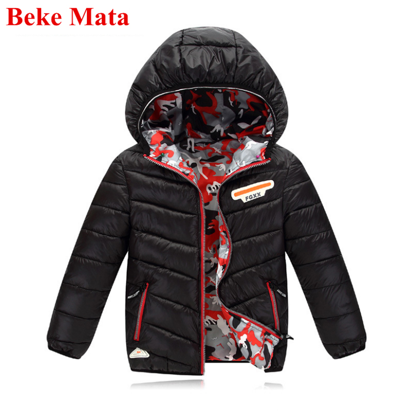 BEKE MATA Kids Winter Jackets For Boys 2017 Fashion Hooded Double Side Boy Winter Coat Teenage Boy Down Jacket Children Jackets open front side pocket hooded coat