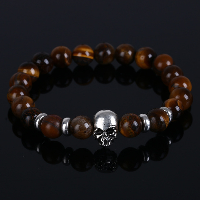Black Beads Natural Stones Skull Bracelet For Women Lava Stone Men