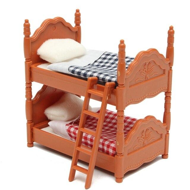 KiWarm Neue 1 Satz Miniatur Puppenhaus Möbel Etagenbett Figuren Ornamente  Für Hause Kinderzimmer Dekor Spielzeug Puppe