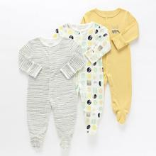 91a697c66186 3Pcs 0-1Y Newborn Baby Rompers Autumn Winter Baby Boy Jumpsuit Clothing  100% Cotton