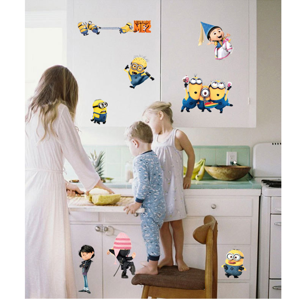 DESPICABLE ME 2 Cute Cartoon Wall Stickers Home Decor Removable Vinyl Art Decals For Kids Minions Mural Decal Wallpaper HG0102