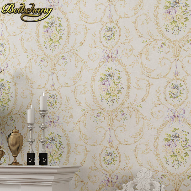 beibehang papel de parede 3d American Pastoral mirror flowers wallpaper For living room Bedroom wall paper roll Home Decoration beibehang embossed american pastoral flowers wallpaper roll floral non woven wall paper wallpaper for walls 3 d living room