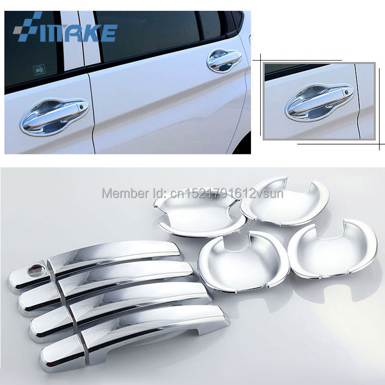 smRKE For <font><b>Honda</b></font> <font><b>City</b></font> 15-16 Car Chrome <font><b>Door</b></font> Bowl Cover Stickers Interior Decoration Sequins Brand Auto Accessories Styling image