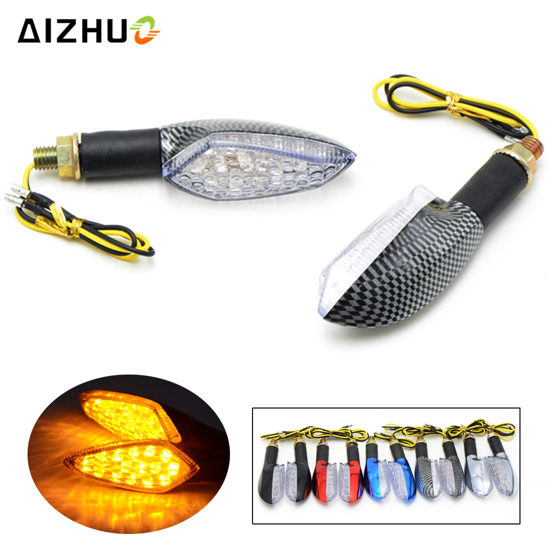 Motorcycle LED Turn Signal Lights Scooter Flasher Indicators Flasher Lights for ducati monster 696 600 honda cb1000r vfr 800 image