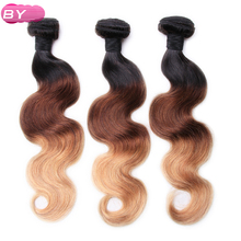 BY Peruvian Pre-Colored Body Wave Raw Hair 1B-4-27 Color One Piece Non-Remy Human Hair 12-24 inch For Salon Hair Extension