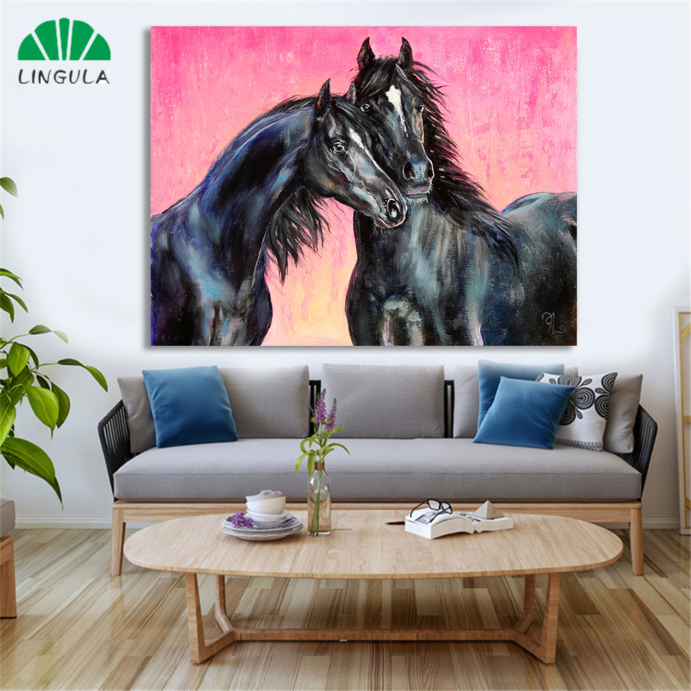 Home Decor Wall Art Couple Horse On White Art Print // Canvas Print Poster