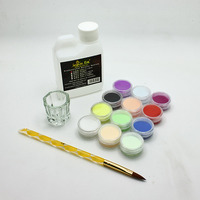 4pcs Professional Makeup Set Including Glitter Powder Acrylic Liquid Nail Brush Crystal Cup Excellent Nail Art