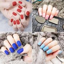 Hot sale 24Pcs/Set Matte Fake Nails Square Tips Top Finish Short Finger Nail Art Decor