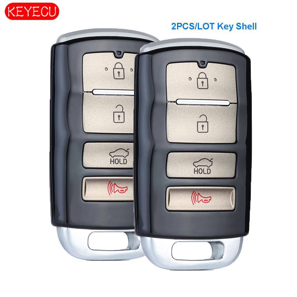 KEYECU 2PCS* 4 Button Replacement Smart Remote Car Key Shell Case for Kia Cadenza 2017-2018