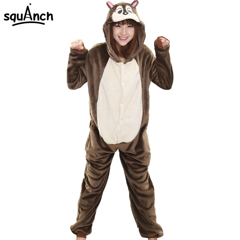 Women Onesie Animal Cartoon Squirrel Pajama Casual Funny Party Jumpsuit Adult Role Play Costume Winter Warm Flannel Sleepwear