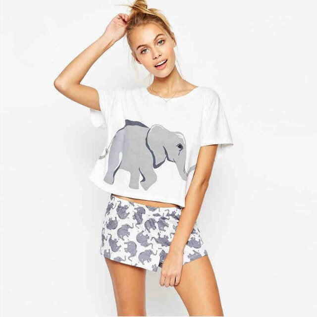 Cute Women's Sets Elephant Print 2 Pieces Set Mix Size Crop Top + Shorts Knitted Loose Tops Plus Size Elastic Waist S6710