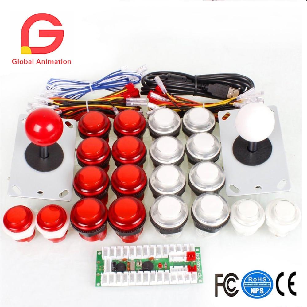 2 joueurs Arcade kit de bricolage USB Contoller à PC Joystick + 20 LED boutons lumineux Mame jeux bâton