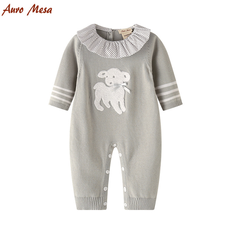 2017 New Baby Knitted Romper Lamb Pattern Newborn Sweater Jumpsuit Cotton Infant Girl Clothes baby clothing summer infant newborn baby romper short sleeve girl boys jumpsuit new born baby clothes