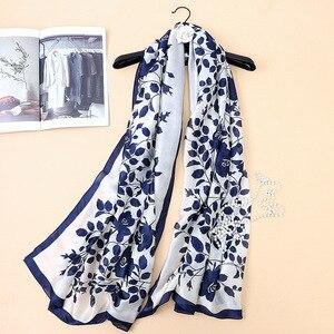 Image 1 - 2019 luxury brand women silk scarf bandana fashion soft lady designer female shawls wraps long size foulard 180 * 90cm hijabs