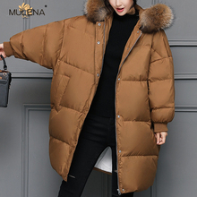Mulena Loose Thick Hairy Collar Long Down Coat Women Solid Warm Bread Suit Female Straight Winter Hardy Office Work Lady Coats