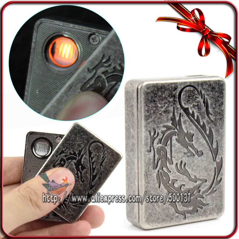 FIREDOG Carved Flying Dragon Pattern Windproof USB Rechargeable Battery Flameless Cigar Cigarette Lighter
