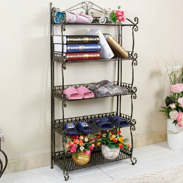 Wrought iron shoe rack shelf multi-floor storage rack slippers rack shoe rack three four five extended continental iron shoe multilayer simple stainless steel dust storage shoe iron shoe rack folding shelves